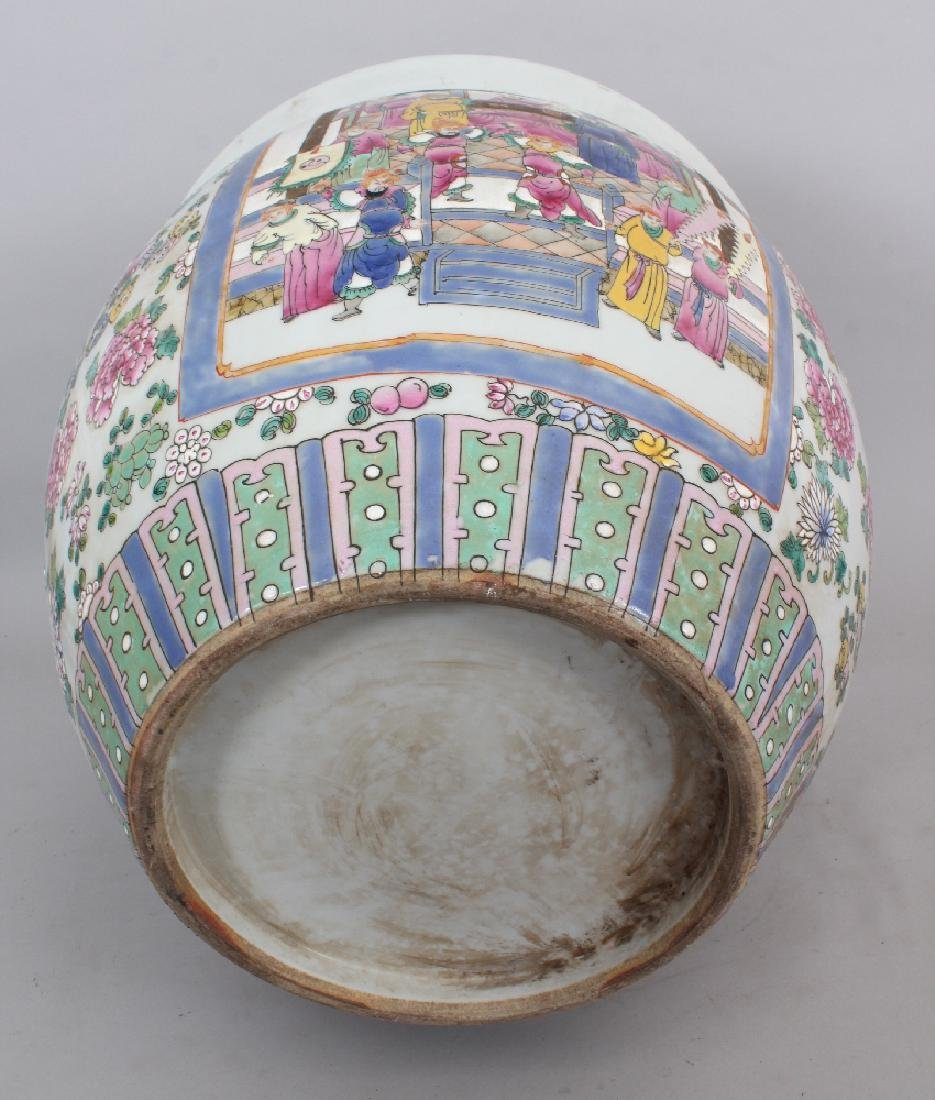 A LARGE CHINESE CANTON STYLE PORCELAIN JARDINIERE, - 8