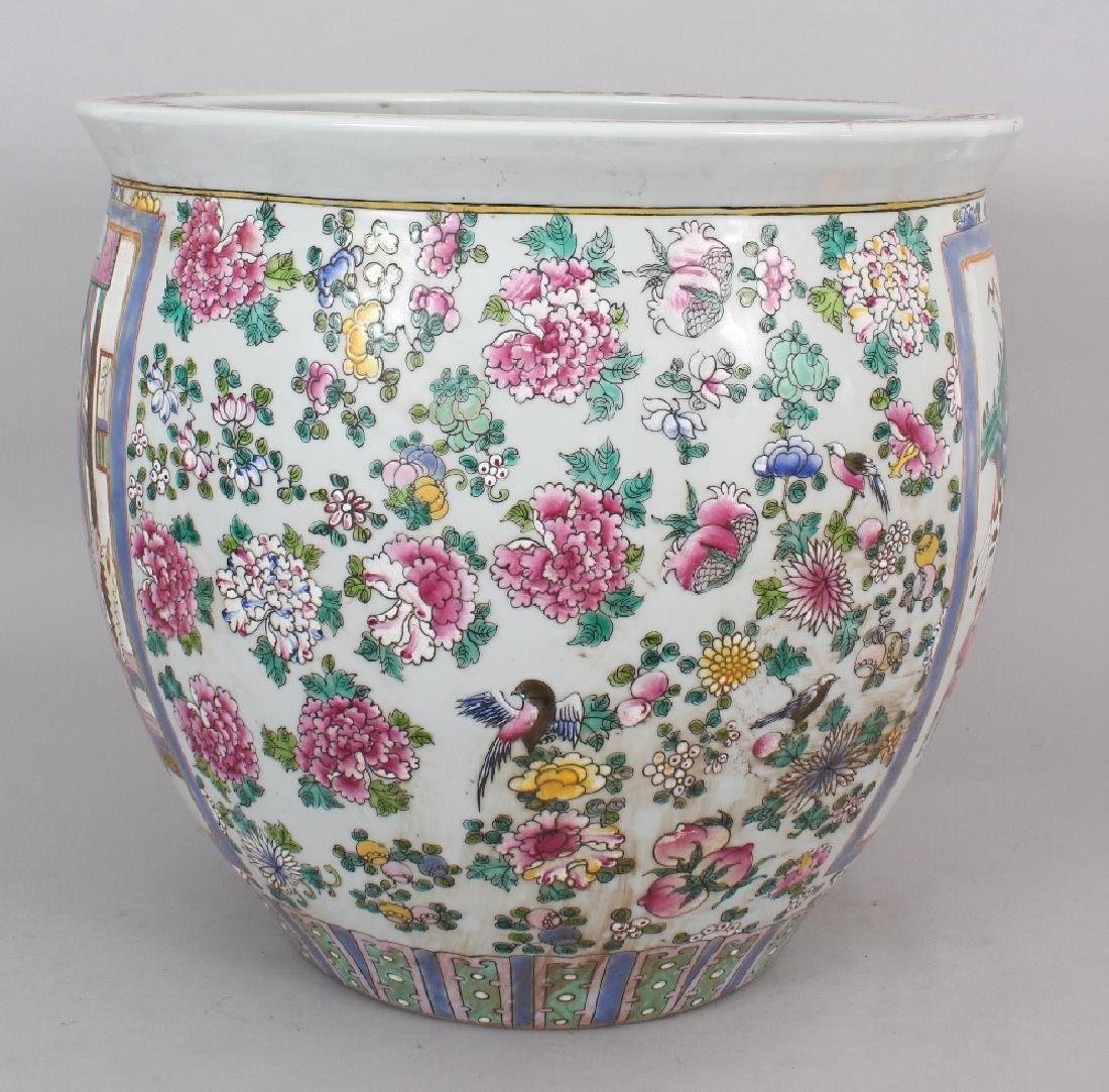 A LARGE CHINESE CANTON STYLE PORCELAIN JARDINIERE, - 2