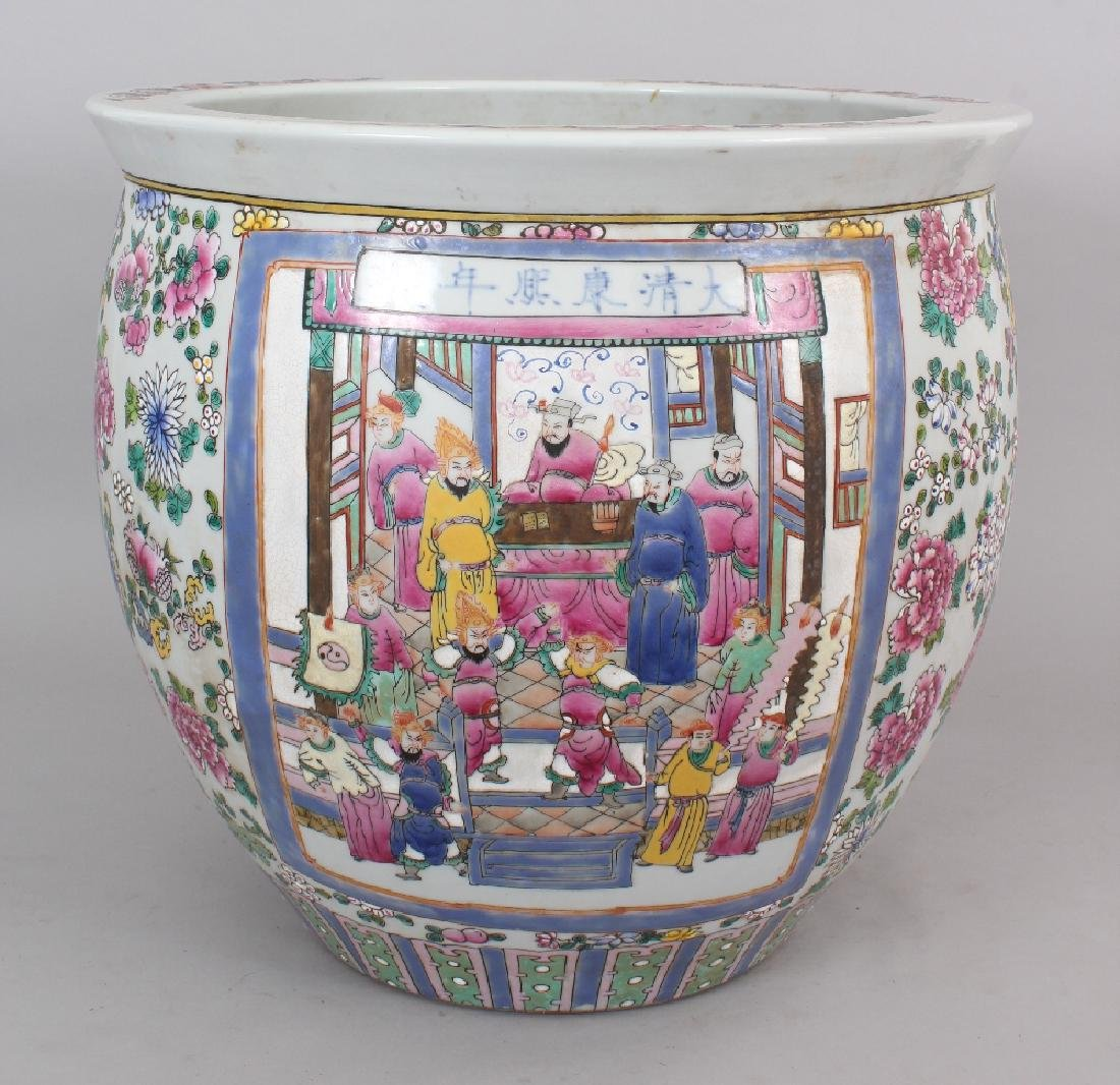 A LARGE CHINESE CANTON STYLE PORCELAIN JARDINIERE, - 3