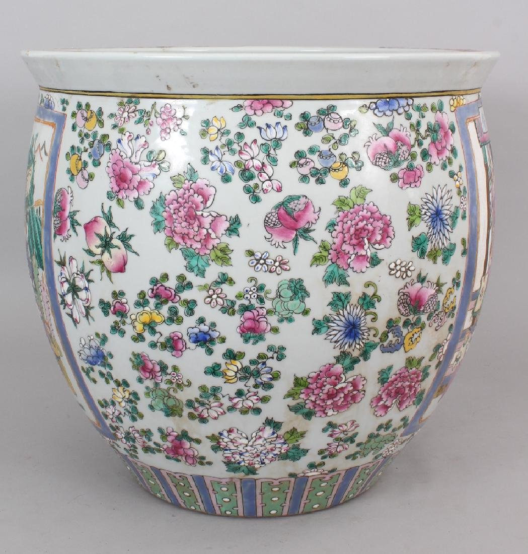 A LARGE CHINESE CANTON STYLE PORCELAIN JARDINIERE, - 4