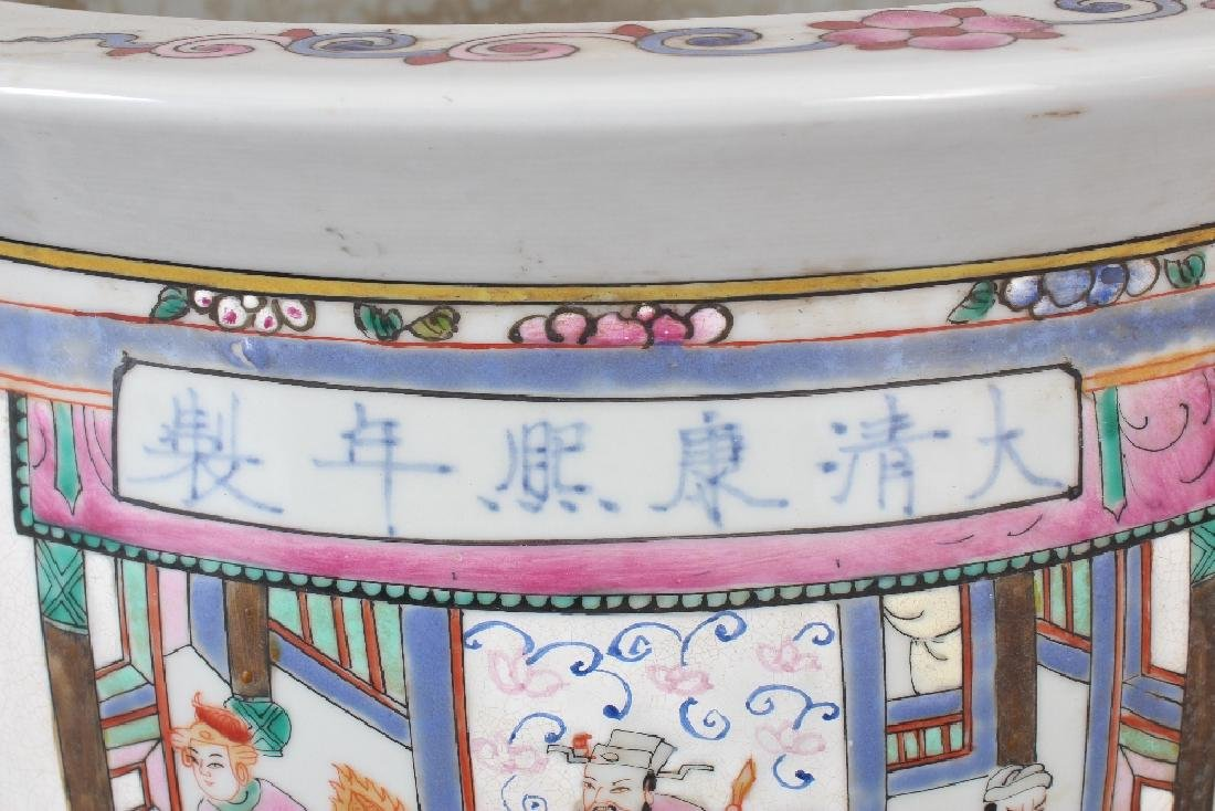 A LARGE CHINESE CANTON STYLE PORCELAIN JARDINIERE, - 6