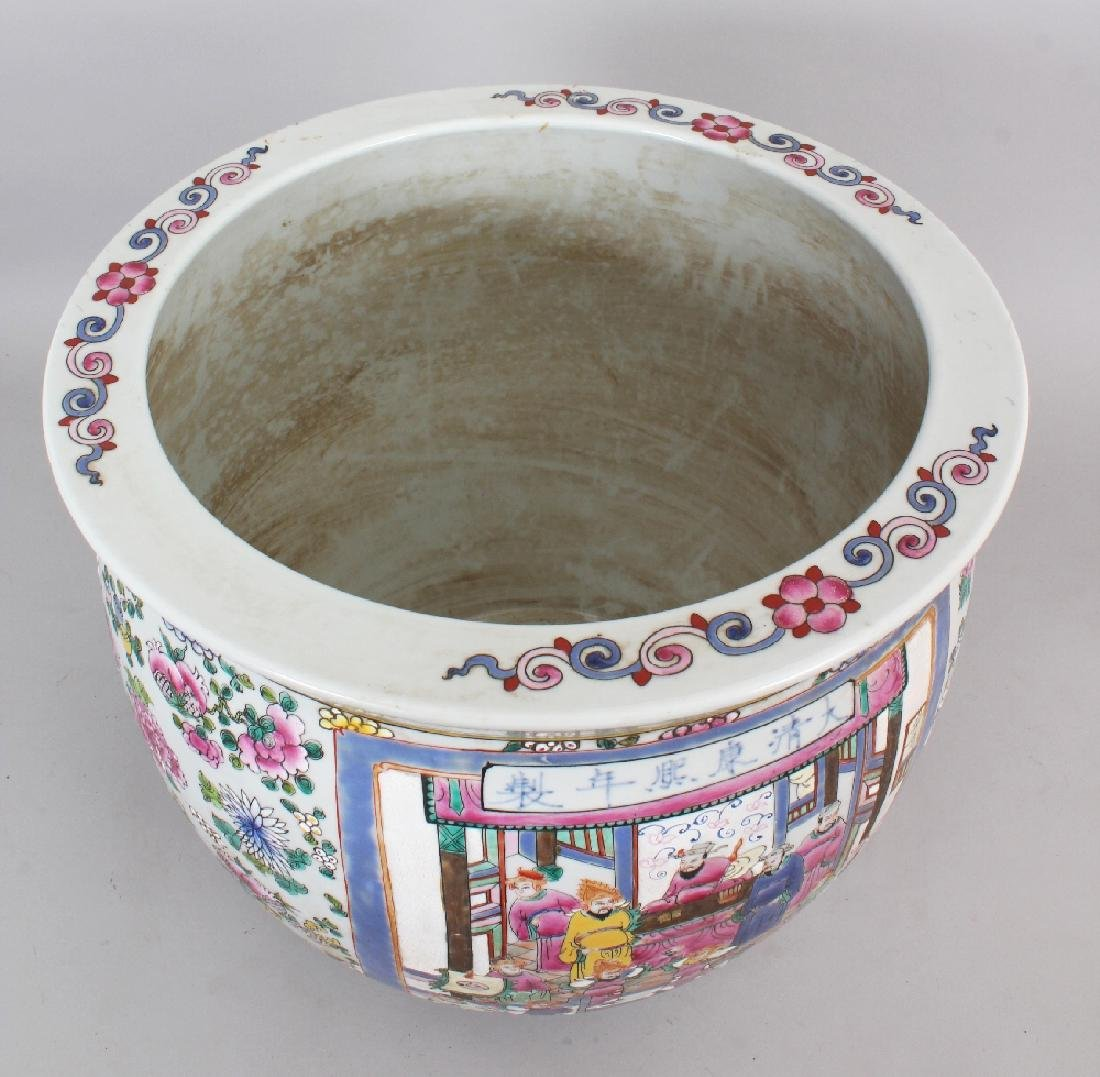 A LARGE CHINESE CANTON STYLE PORCELAIN JARDINIERE, - 7