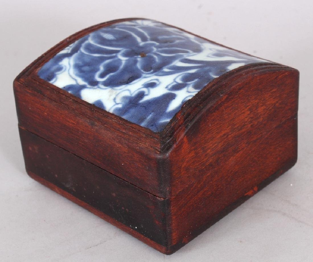 A WOOD BOX & DOMED COVER INSET WITH AN 18TH CENTURY