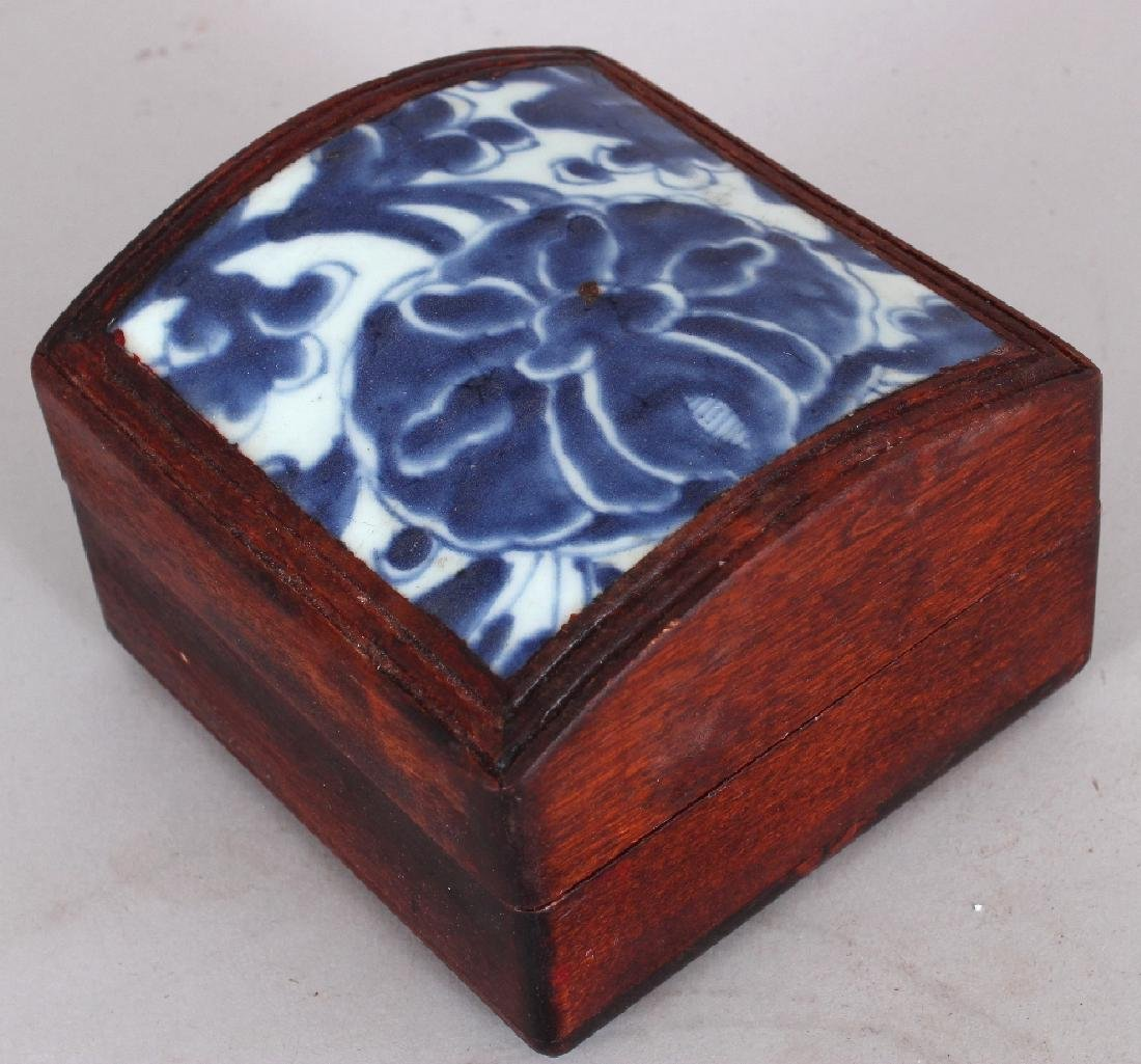 A WOOD BOX & DOMED COVER INSET WITH AN 18TH CENTURY - 3
