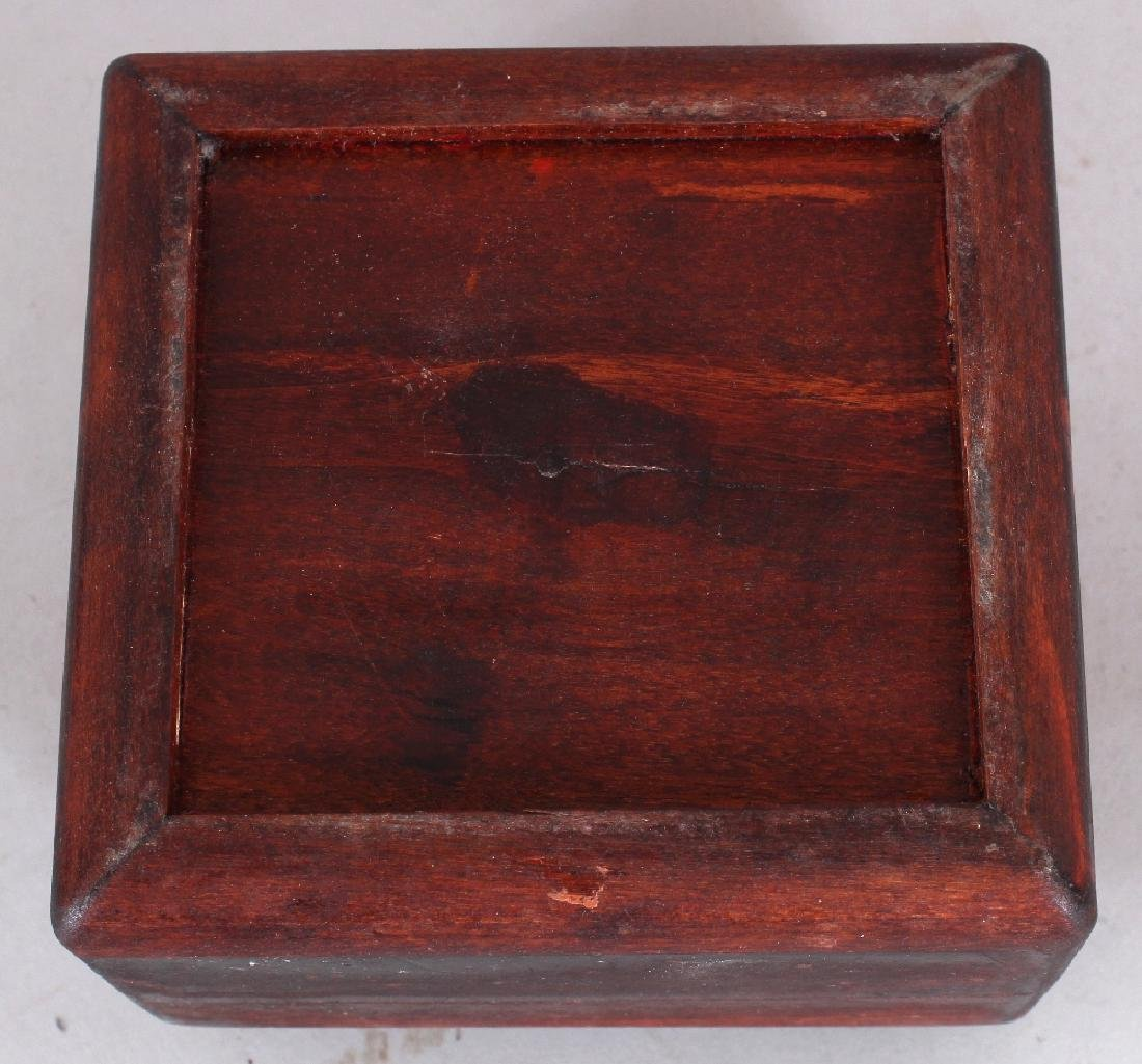 A WOOD BOX & DOMED COVER INSET WITH AN 18TH CENTURY - 5