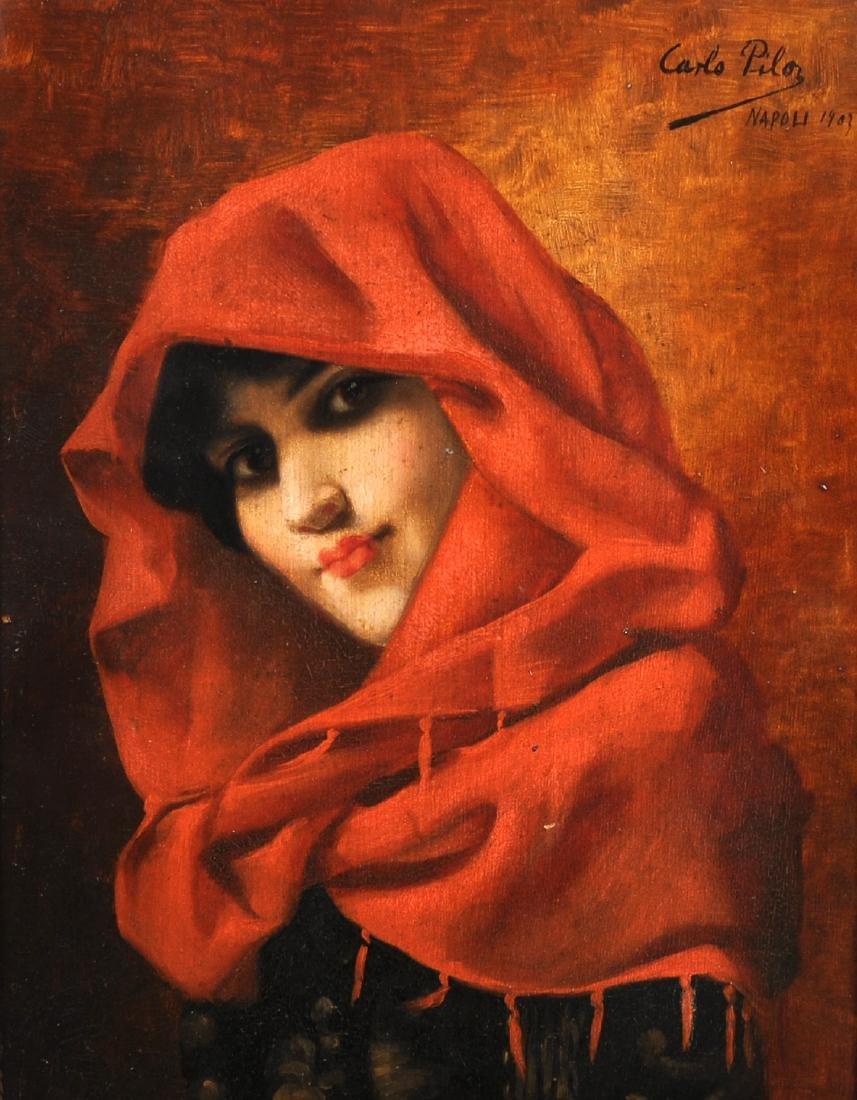 "Carlo Pila (19th - 20th Century) Italian. ""Portrait de"