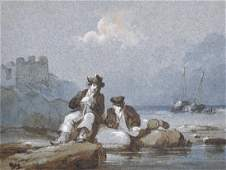 Early 19th Century English School Two Fishermen Seated