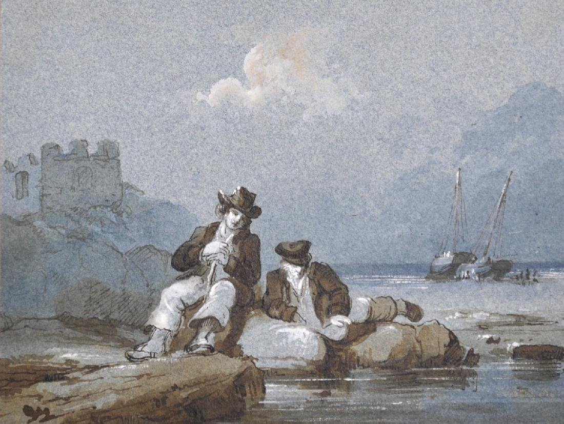 Early 19th Century English School. Two Fishermen Seated