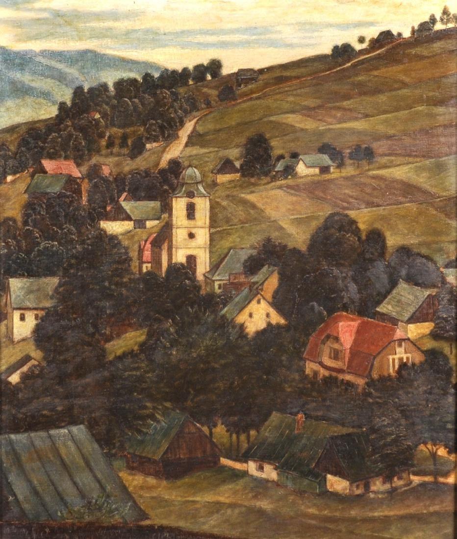 20th Century European School. A Hillside Village, Oil