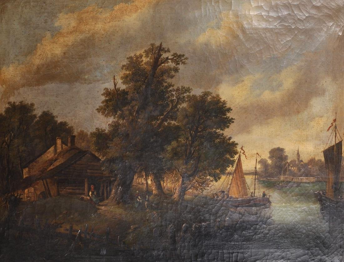 19th Century Dutch School. A River Landscape with