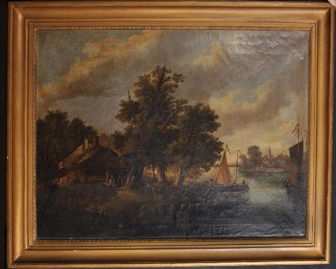19th Century Dutch School. A River Landscape with - 2