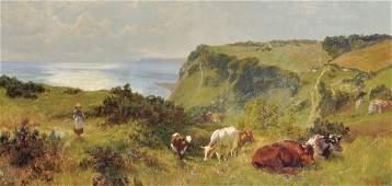 """Charles Collins (1851-1921) British. """"Ecclesbourne Glen"""