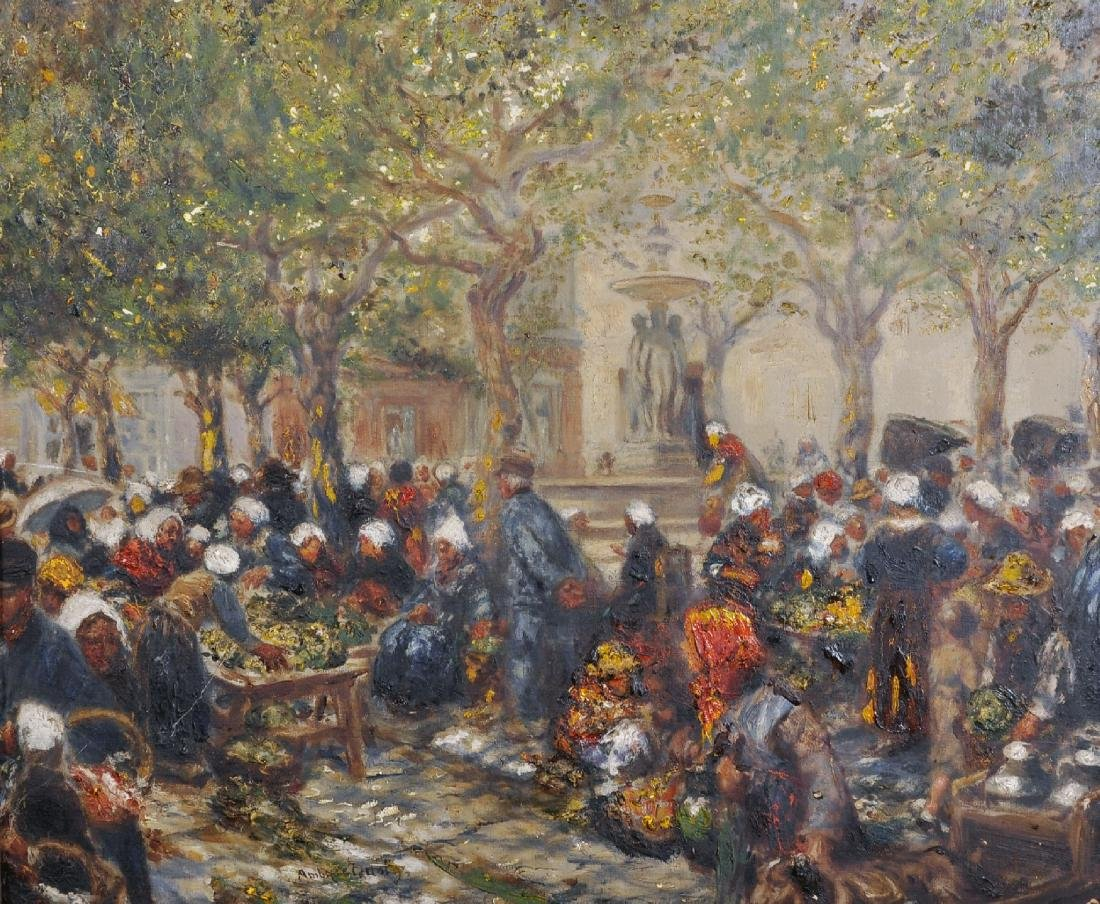 Ambrose Dudley (19th-20th Century. A Street Market with