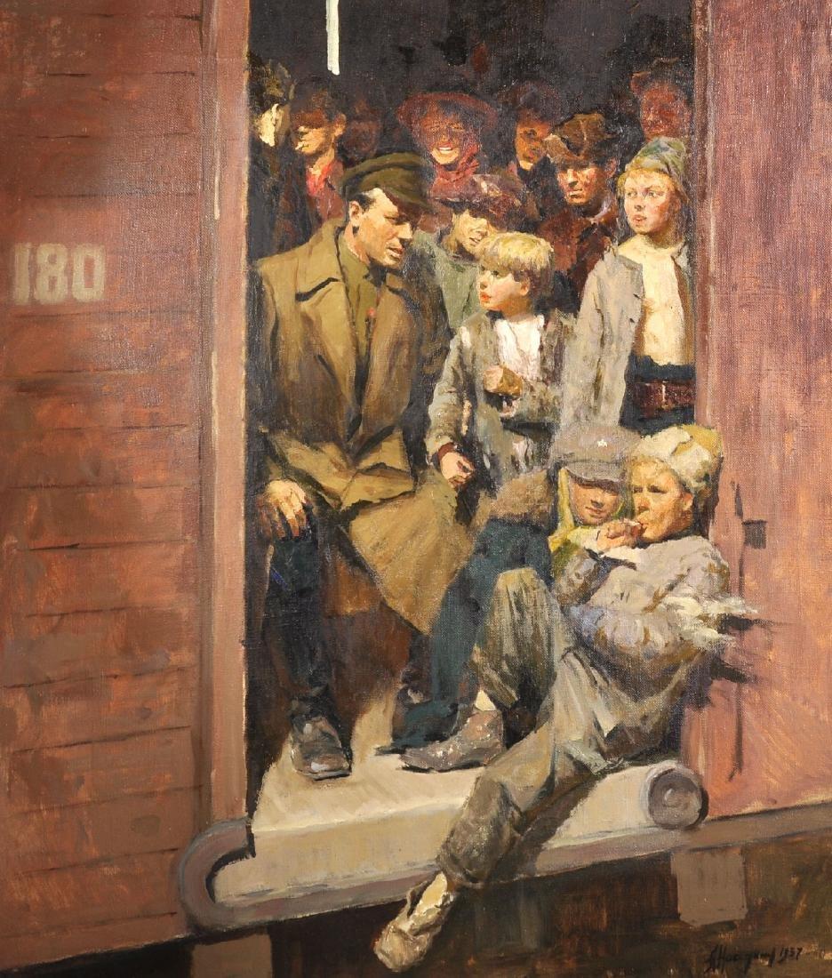 20th Century Russian School. Figures in a Train Car,
