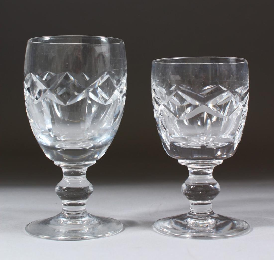 A SET OF EIGHT CUT GLASS WINE GLASSES and nine smaller - 2