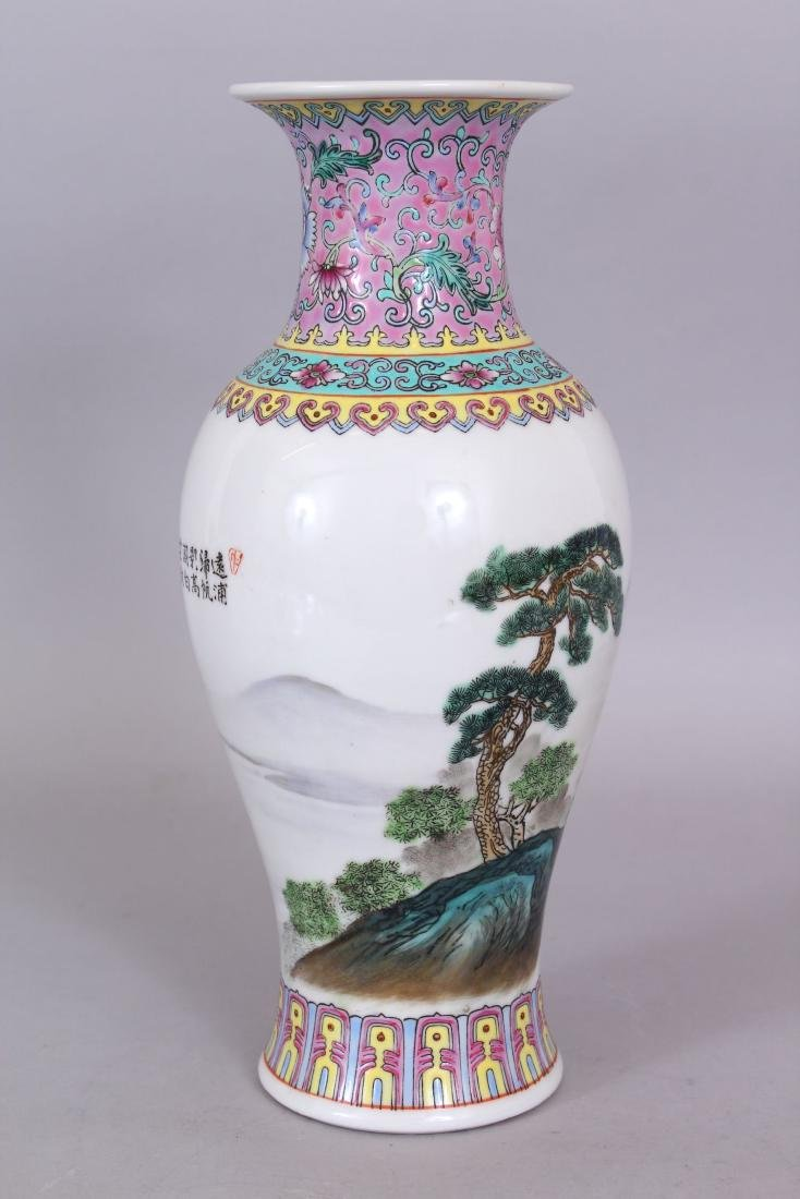 A 20TH CENTURY CHINESE FAMILLE ROSE PORCELAIN VASE, - 2