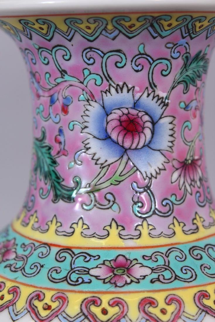 A 20TH CENTURY CHINESE FAMILLE ROSE PORCELAIN VASE, - 6