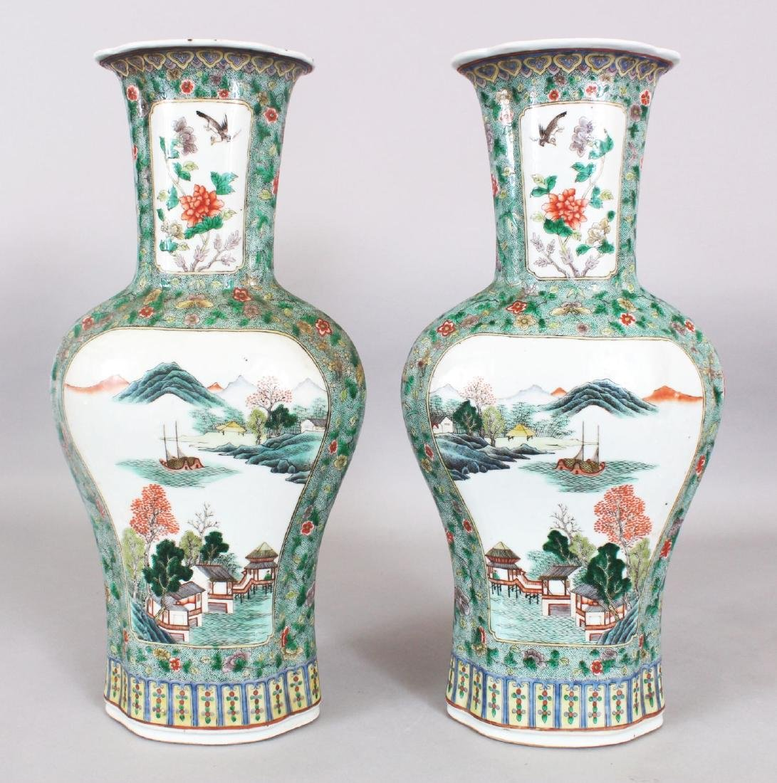 A LARGE PAIR OF 19TH CENTURY CHINESE FAMILLE VERTE - 3