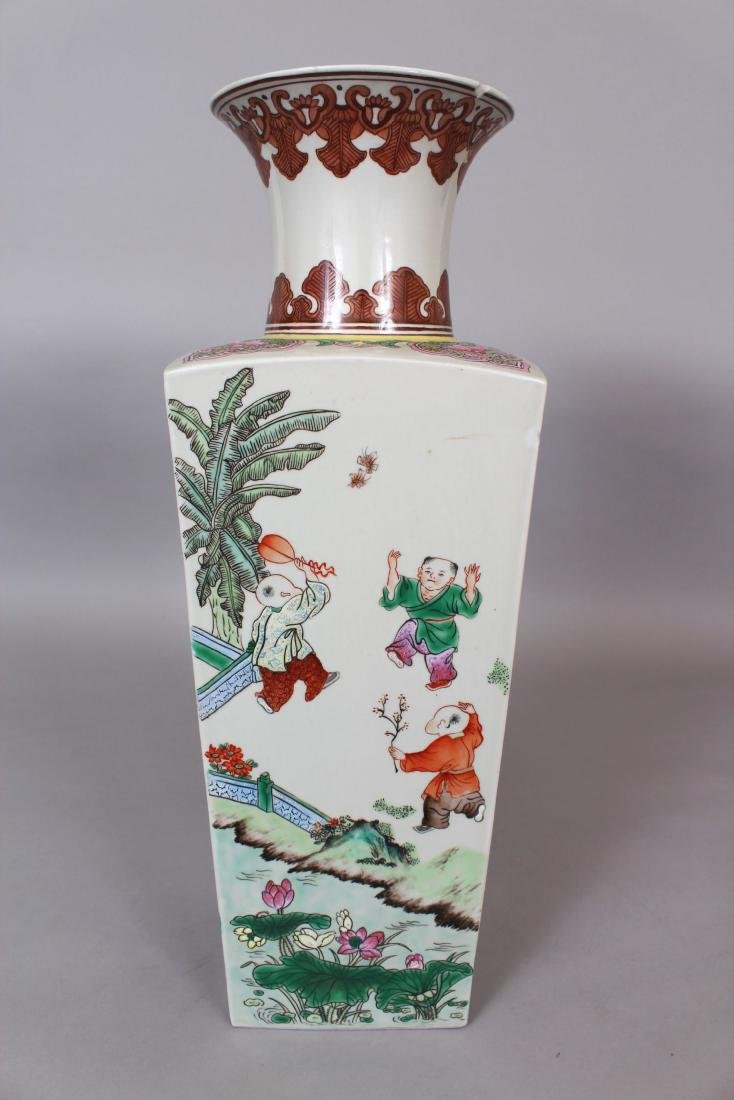 A CHINESE FAMILLE ROSE PORCELAIN VASE, the sides - 3