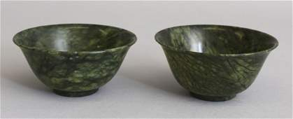 A PAIR OF 20TH CENTURY CHINESE SPINACH GREEN HARDSTONE