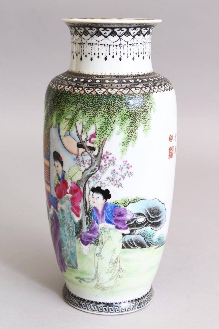 A 20TH CENTURY CHINESE FAMILLE ROSE PORCELAIN VASE, - 4
