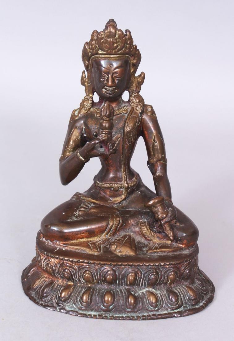 A SINO-TIBETAN BRONZE FIGURE OF BUDDHA, seated in