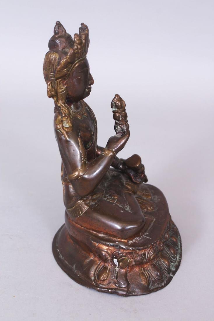A SINO-TIBETAN BRONZE FIGURE OF BUDDHA, seated in - 2