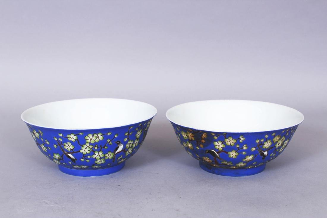A PAIR OF CHINESE BLUE GROUND PORCELAIN BOWLS, each - 2