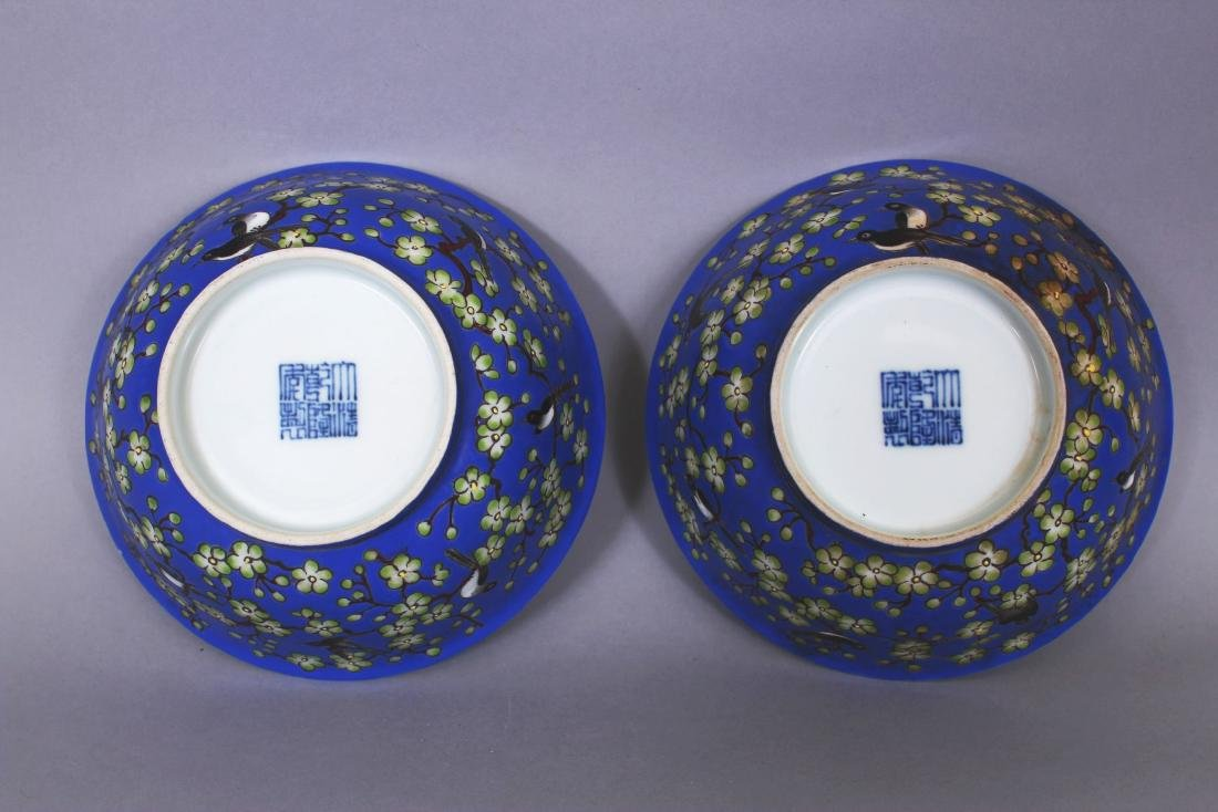 A PAIR OF CHINESE BLUE GROUND PORCELAIN BOWLS, each - 5