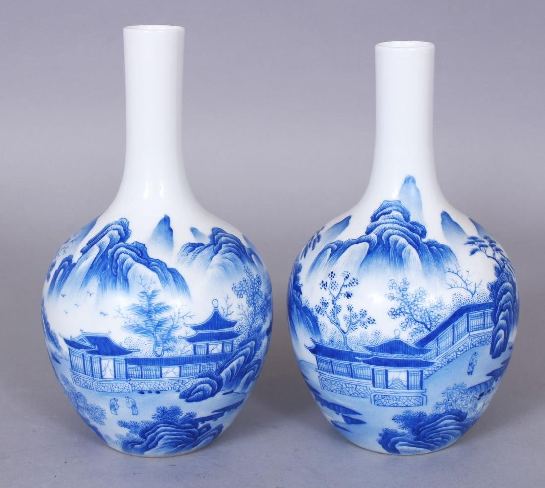 A SMALL PAIR OF CHINESE PORCELAIN BOTTLE VASES, each