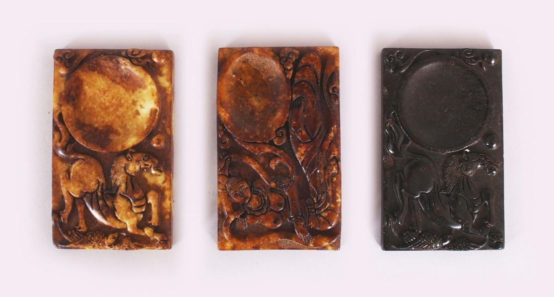 A GROUP OF THREE CHINESE RECTANGULAR STONE INK SLABS,