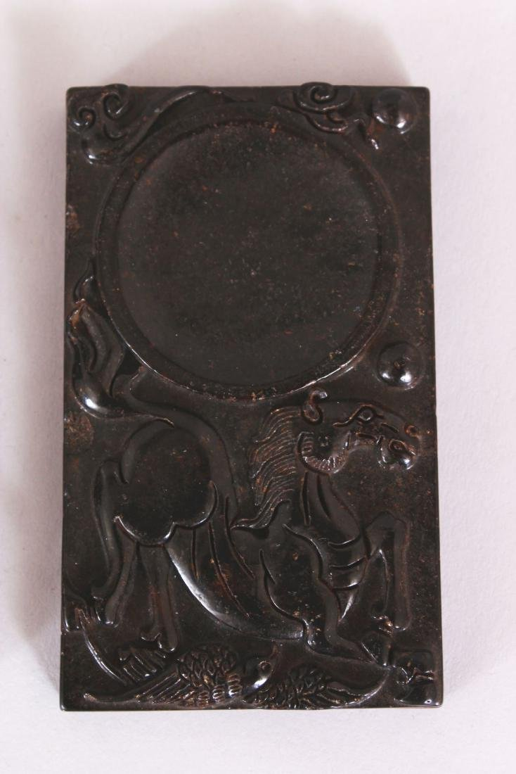 A GROUP OF THREE CHINESE RECTANGULAR STONE INK SLABS, - 4