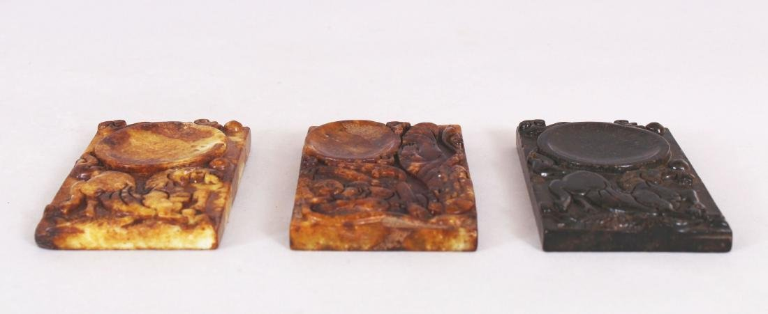 A GROUP OF THREE CHINESE RECTANGULAR STONE INK SLABS, - 5