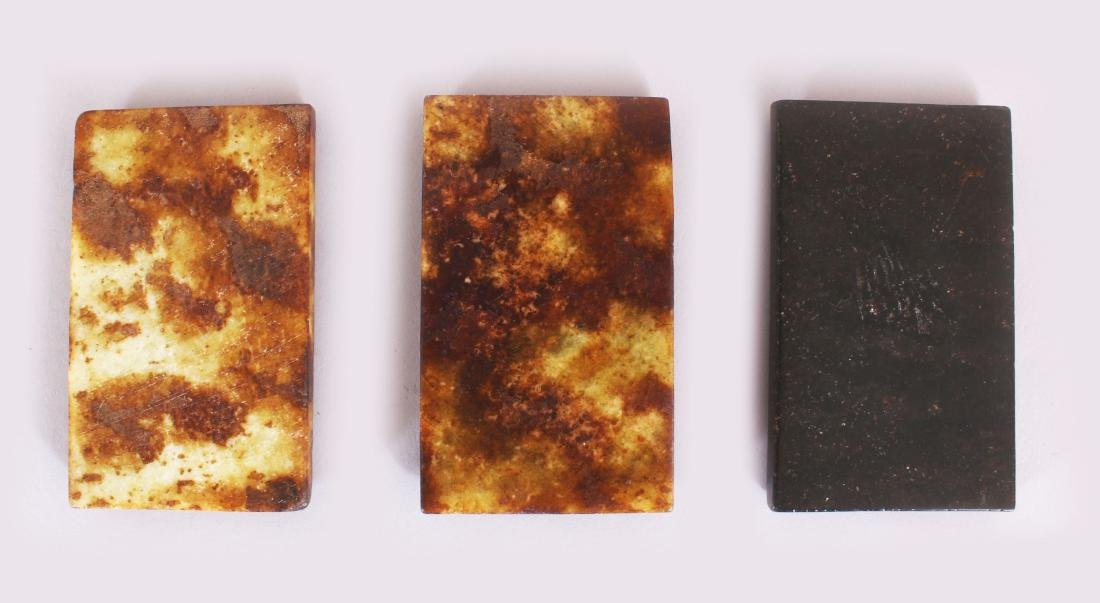 A GROUP OF THREE CHINESE RECTANGULAR STONE INK SLABS, - 6