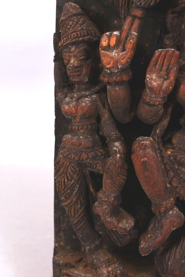 A SIMILAR 20TH CENTURY INDIAN WOOD TEMPLE CARVING, - 4