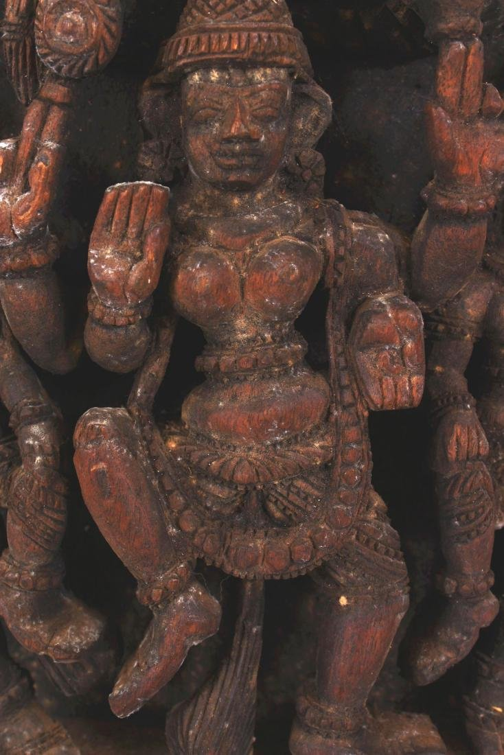 A SIMILAR 20TH CENTURY INDIAN WOOD TEMPLE CARVING, - 5