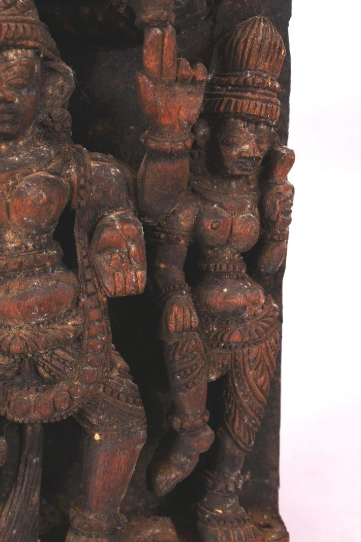 A SIMILAR 20TH CENTURY INDIAN WOOD TEMPLE CARVING, - 6