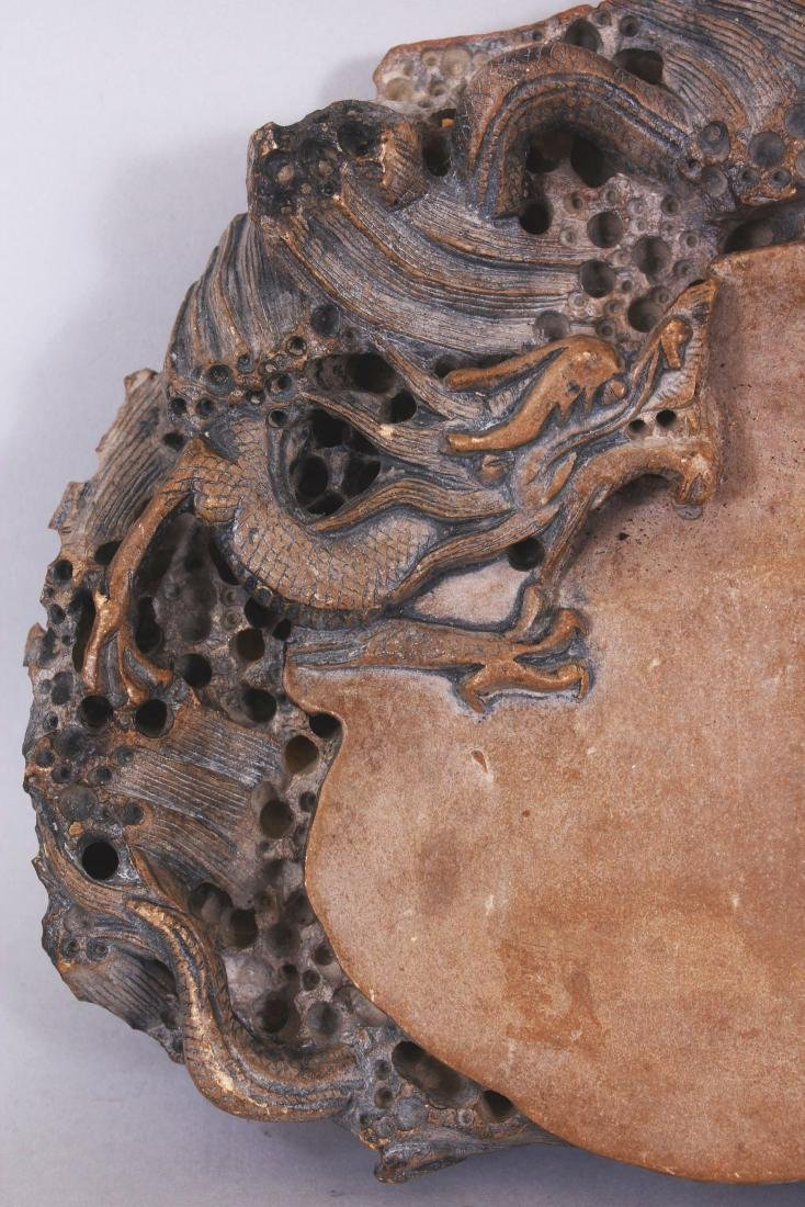 A LARGE CHINESE DRAGON INK STONE, the stone of beige - 2
