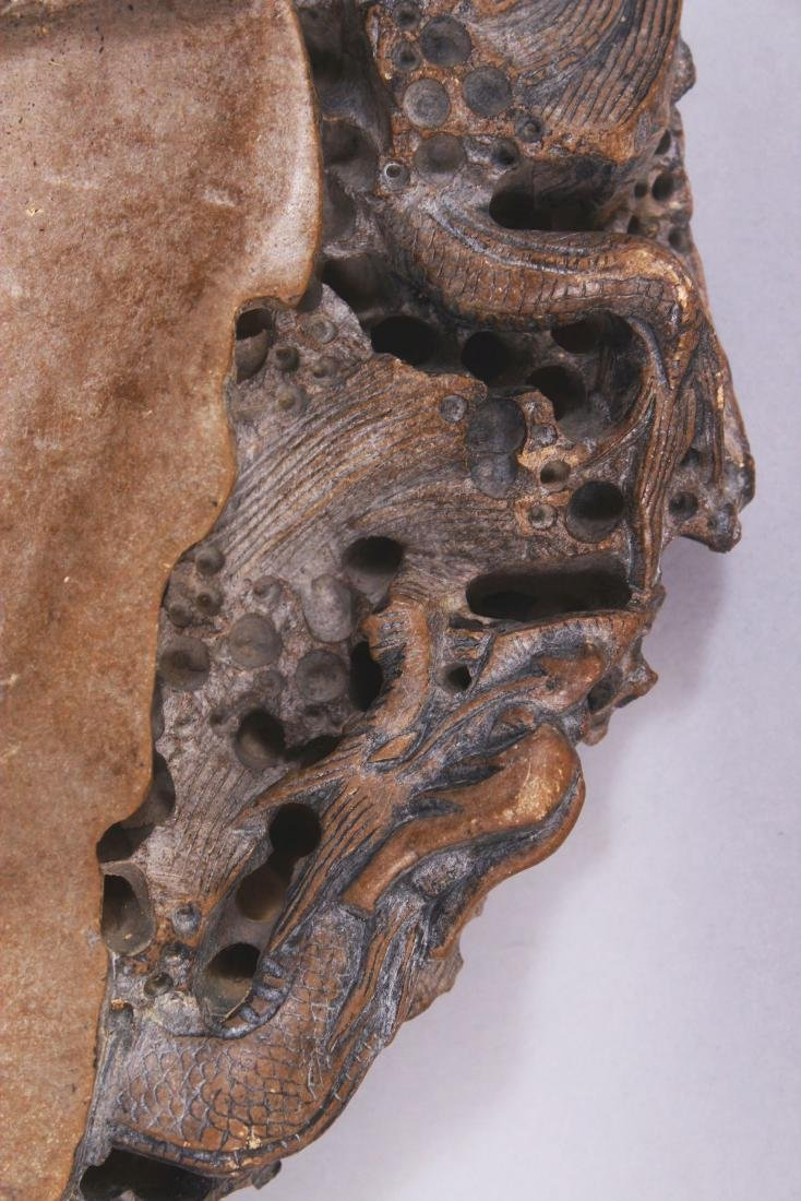 A LARGE CHINESE DRAGON INK STONE, the stone of beige - 3