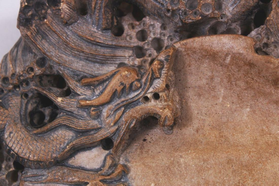 A LARGE CHINESE DRAGON INK STONE, the stone of beige - 4
