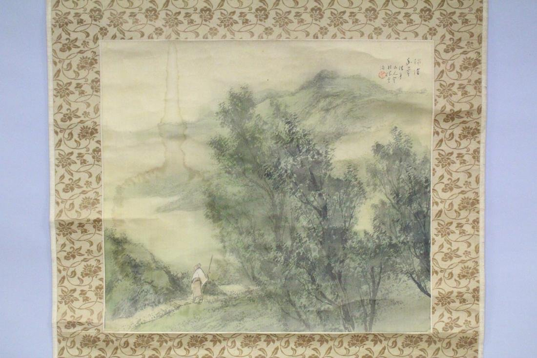 A 19TH CENTURY CHINESE SCROLL PAINTING ON SILK, - 2