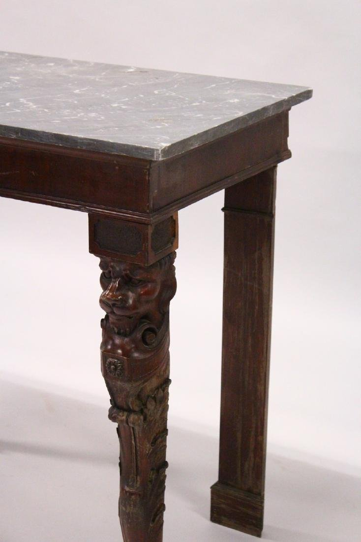 A 19TH CENTURY MAHOGANY AND MARBLE CONSOLE TABLE, the - 2