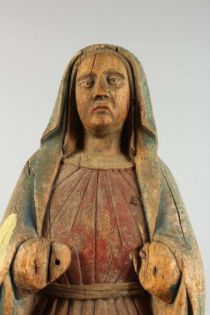 AN EARLY CARVED WOOD FIGURE OF THE MADONNA, for - 2