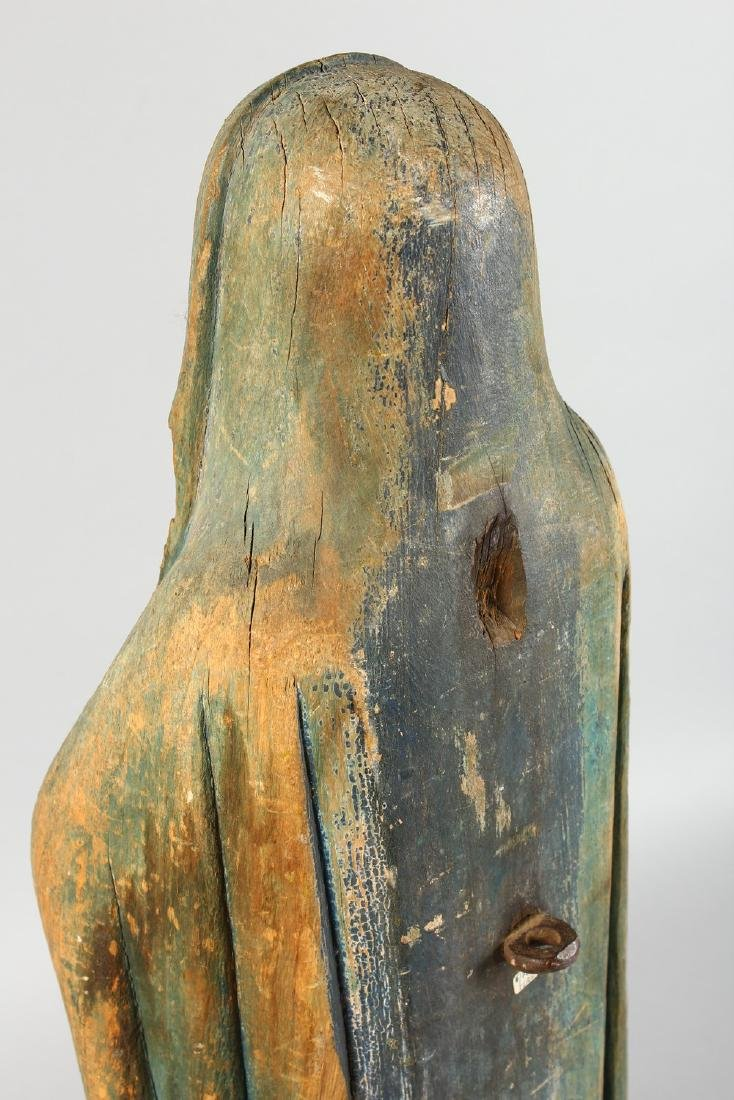 AN EARLY CARVED WOOD FIGURE OF THE MADONNA, for - 4