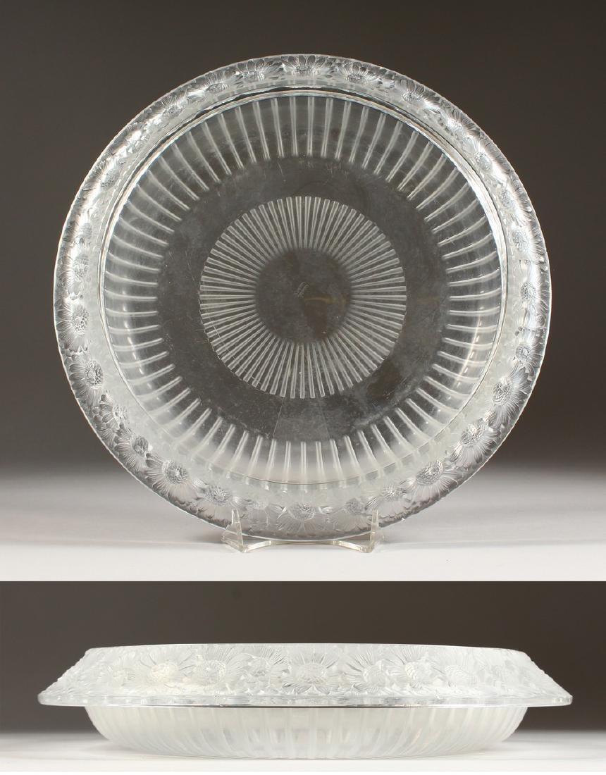 A GOOD LALIQUE CIRCULAR FROSTED BOWL, the rim with