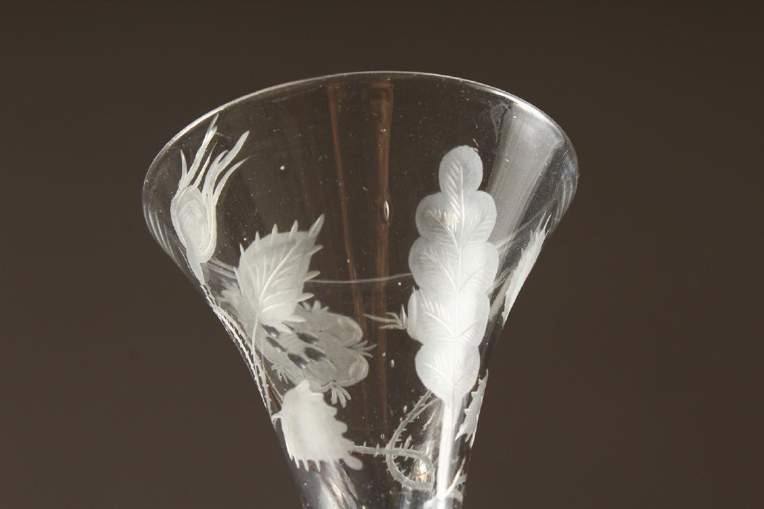 A JACOBITE WINE GLASS, the bowl engraved with rose, - 3