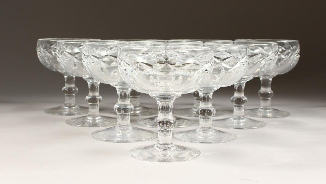 A SET OF TEN CUT GLASS CHAMPAGNE GLASSES. - 5