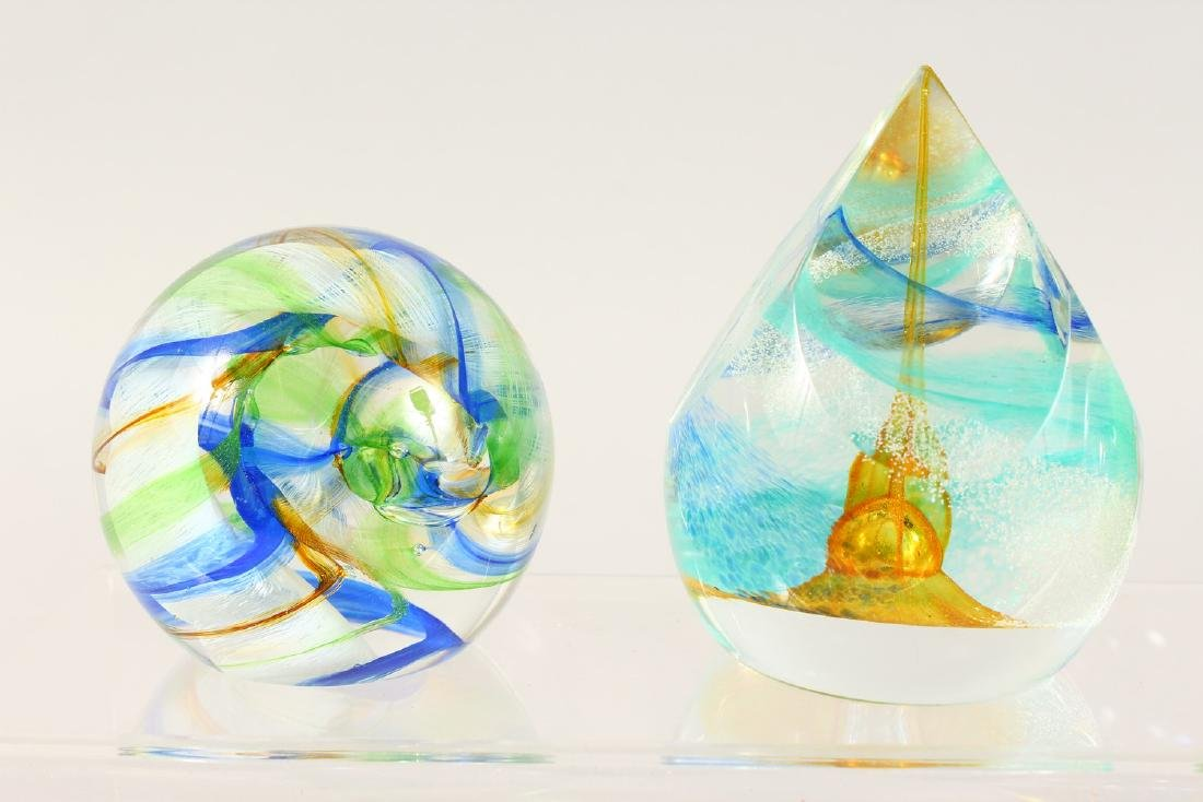 SIX VARIOUS SIGNED GLASS PAPERWEIGHTS. - 2