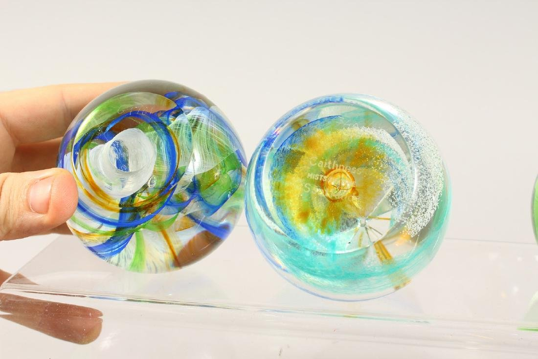 SIX VARIOUS SIGNED GLASS PAPERWEIGHTS. - 3