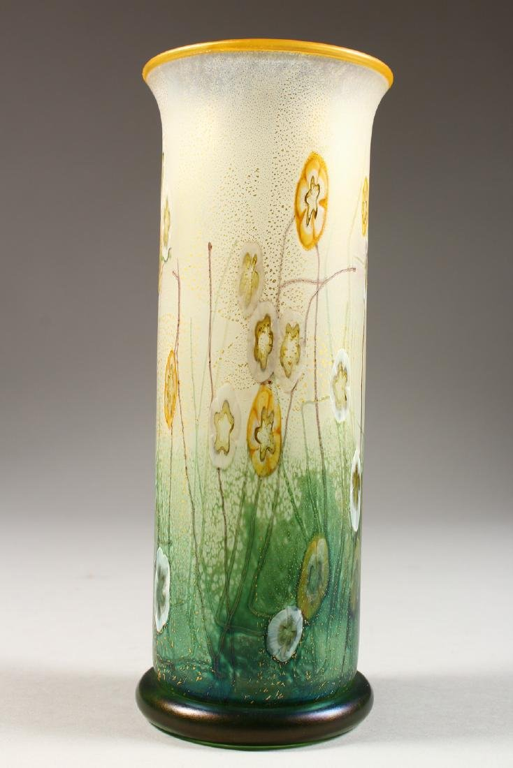 A VERY GOOD ART NOUVEAU GLASS VASE, painted with - 4